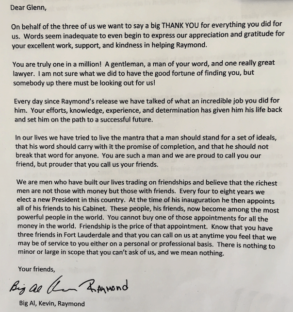Letter from Big Al, Kevin, Raymond: