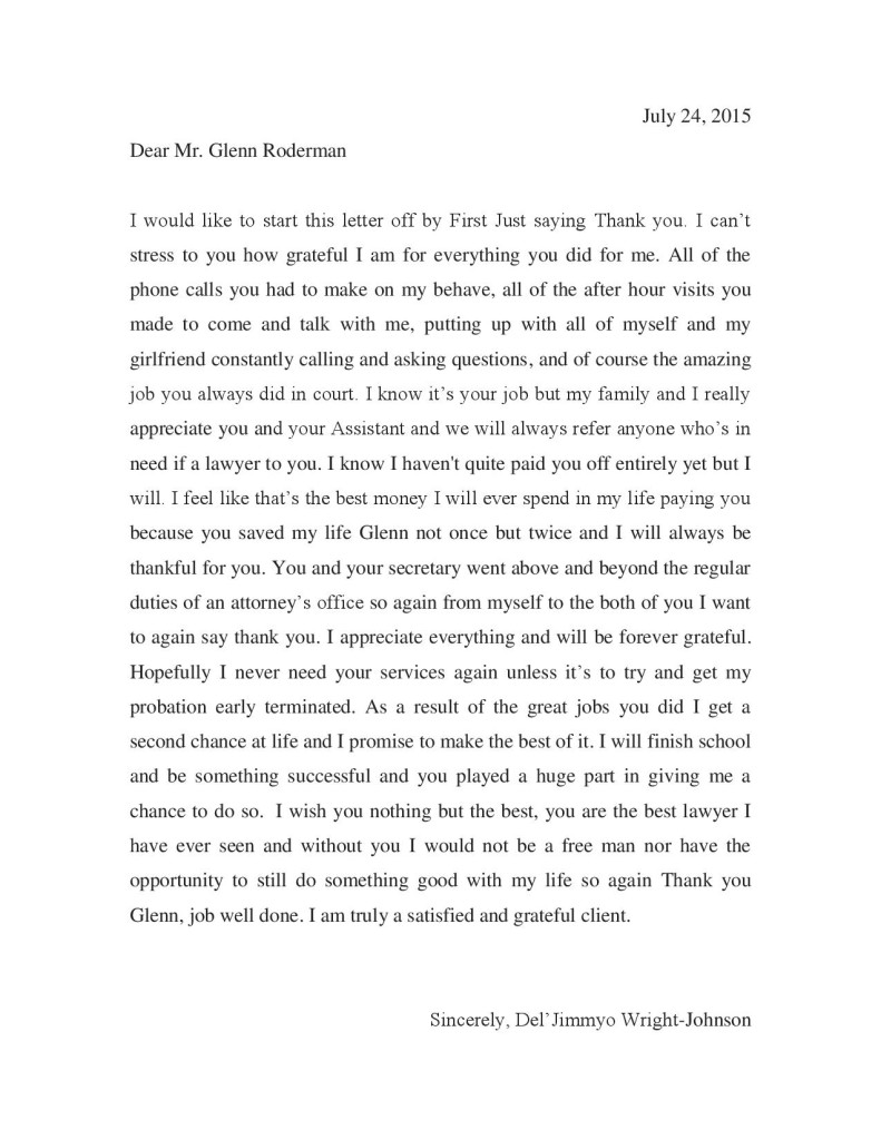 Letter from Del'Jimmyo Wright-Johnson