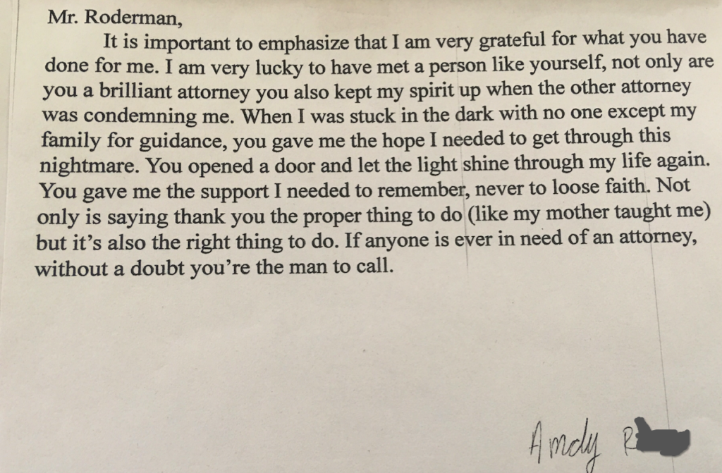 Letter from Andy R.