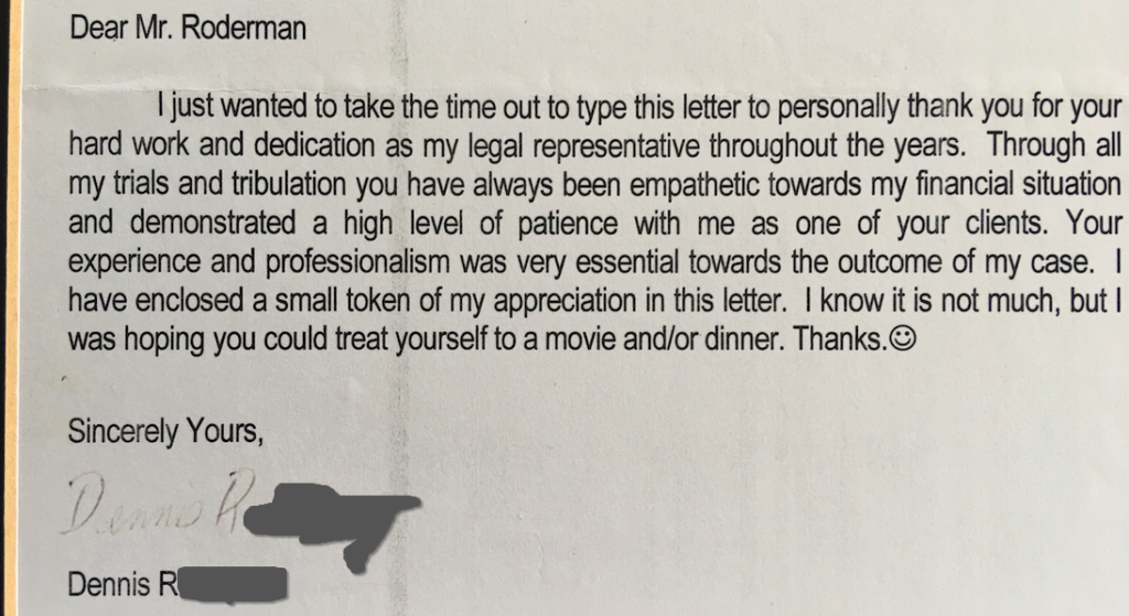 Letter from Dennis R.
