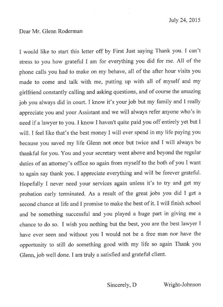 Letter from D. Wright-Johnson