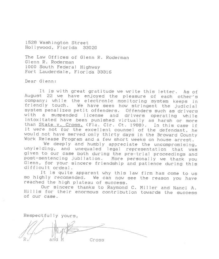 Letter from R. Cross